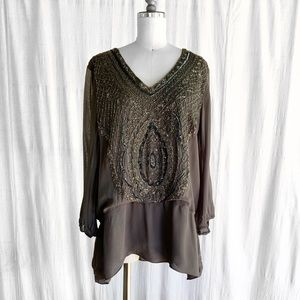 Boston Proper Gray Beaded Top